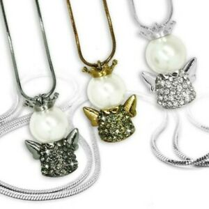 1 Necklace Snake Chain with Angel Pendant Rhinestone Pearl Crown IN 3 Colours