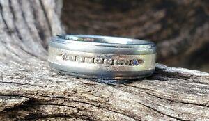 Triton Men's Diamond Tung. Carbide 850 & 925 Silver Wedding Ring/Band - Size 11
