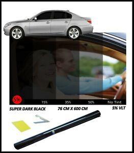 Tinting Film Roll For Car Van And Vehicles SUPER DARK BLACK LIMO 5% 76cm x 6M