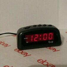 EQUITY TIME LED Atomic Alarm Clock basic small electric w/ Battery Backup travel
