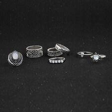 Fashion Oval Lone Wolf Boho Rings Vintage Retro Rings Set Women Jewelr 7Pcs/set