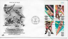 US Scott #2082-85, First Day Cover 5/4/84 Los Angeles Plate Block Olympics
