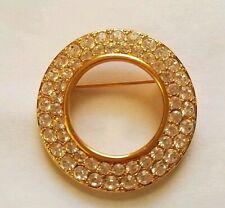 Genuine Swarovski Gold-tone Round Brooch Pin w/ White Rhinestone Crystals Signed