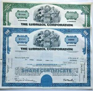 Lubrizol set of 2 stock certificates part of Warren Buffett's Berkshire Hathaway