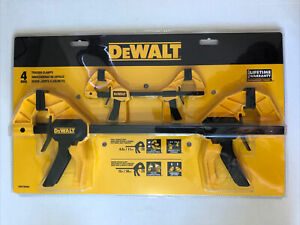 """New-DeWalt Trigger Clamp Set 4 Piece Med 12"""" 100lbs Small 4.5"""" 35lbs Clamp Force"""