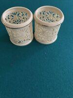 "Vintage Lenox China Tea Light 2 Candle Holder Gold Trim Ivory 3""-Inch Tall"