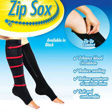 Knee High Zip Up Open Toe Compression Socks SOX Zipper Leg Ankle Foot Support