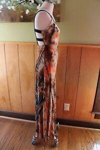L Wet Seal Maxi Long Dress Tie Dye Brown Orange Strappy Back Perfect Euc Summer