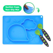 Silicone Placemat for Kids Spoon & Fork Set w/ Carrying case Portable Baby Plate