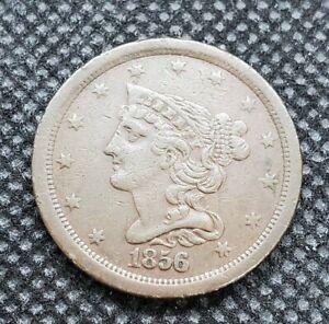 1856 Braided Hair Half Cent   FINE