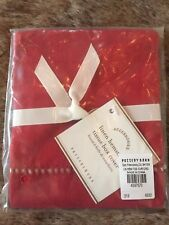 Pottery Barn Linen Hemstitch Tissue Box Cover Cherry Red Holiday Christmas NWT