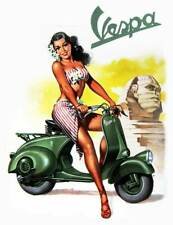 "VESPA Vintage Pinup Girl CANVAS ART PRINT 8""X 10"" Retro Scooter poster SPHINX"