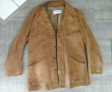 VTG McGregor USA Chamois Tan Suede Leather Sherpa Pile Lined Coat 40