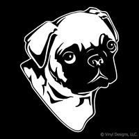 PUG DOG PORTRAIT DECAL - DOGS STICKER ART -GRAPHIC -NEW