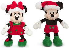 2013 Disney Store Santa MICKEY & MINNIE Mouse Holiday Plush Bean Bag Toy Doll