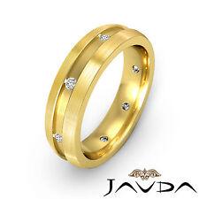 Side Brushed Solid Ring Diamond Men Eternity Wedding Band 18k Yellow Gold 0.16Ct