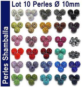 PROMO Lot 10 PERLES Disco Cristal Strass pour création Bracelet Collier