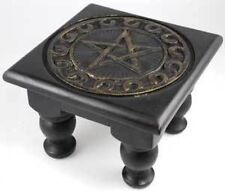 Portable Altar Table Carved Wood Pentagram Wicca Pagan Witchcraft Magick Spell