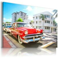 CUBA CAR RED ORANGE Sports Cars Wall Art Canvas Picture AU869 UNFRAMED