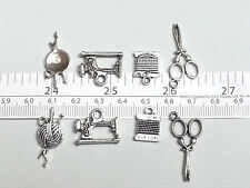 A set of 4 Tibetan silver charms textiles sewing machine scissors cord knitting