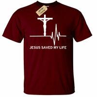 Mens Jesus Saved My Life Religious Christian Shirt God