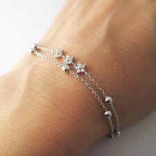 Bracelet double chaîne zirconium CZ et argent 925/1000e BR114