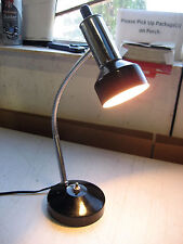 """Used Goose-neck Desk Lamp, 4.5"""" dia., Ext to 15""""h, push btn on/off, w/warranty"""