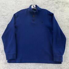 Polo Ralph Lauren Mens Blue Cotton 1/4 Zip Mock Neck Pullover Sweater Size Large