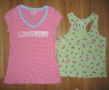 Lot Victorias Secret pink striped sleep T-shirt berry cotton tank tops Size S/M