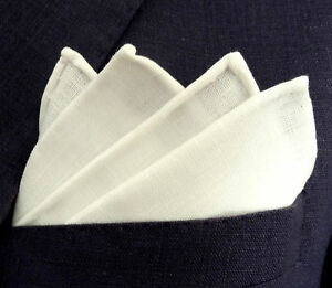 White Pure Linen Handkerchief - Pocket Square - Handmade in Germany