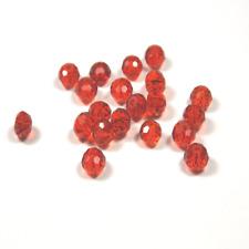 20 PETITES Perles Rondes en VERRE à Facettes Rouge 4mm Création de Bijoux