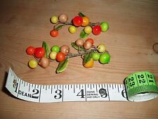 vintage 1950's millinery fruit/cherries 2 stems excellent condition  6 photos