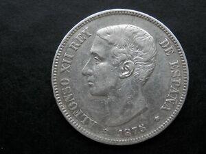 MONEDA DE PLATA 5 PESETAS AÑO 1875  DEM - PESO 25 GRAMOS PLATA