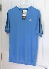 New Mens Adidas 3S Short Sleeve Moisture Wicking Training Shirt Medium Blue $25