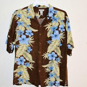 Breakwater Mens XL Hawaiian Short Sleeve Shirt Brown Blue Green Button Front