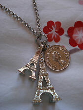 ALANNAH HILL 'Under The Tower' silver tone NECKLACE w Eiffel & Franc pendant