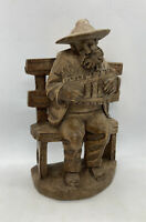 "Vintage German Black Forest Carved Wood Bavaria Musician 8"" Tall Large Statue"