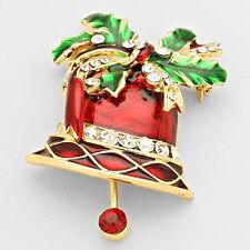 Christmas Bell Crystal Enameled Brooch