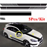 5pcs Auto Vinyl Side Body Door Hood Graphics Decal Sticker Car SUV Long Stripe