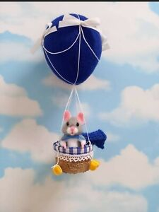 Ooak Needle Felted Original Dangling Mouse Hot Air Balloon Handmade By Nicky 🐭❤