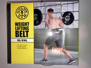 """Gold's Gym Weight Lifting Belt Size XL/XXL Leather Black New Ships Free 37""""-55"""""""