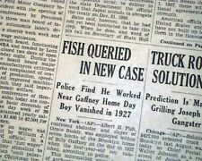 ALBERT FISH Serial Killer Child Rapist Cannibal re. ARREST 1935 Old Newspaper