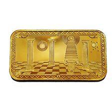 Masonic Freemason Freemasonry Symbol 24K Gold Plated Commemorative Bar Token