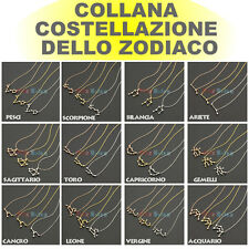 Collana Zodiaco Costellazione Segno ORO Zodiacale ARGENTO BRONZO BRACCIALE bu
