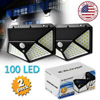2 x 100 LED Solar Power Wall Light Motion Sensor Waterproof Outdoor Garden Lamp