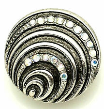 Opal Antiqued Silver Shell 20mm Snap Charm Interchangeable Fits Ginger Snaps