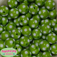 20mm Lime Green Polka dot Acrylic Chunky Bubblegum Beads 20pc Gumball