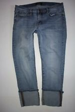 BUFFALO DAVID BITTON  FAITH Size 30 MID RISE CROPPED STRETCH Cuff BLUE JEANS