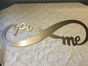 ETERNAL LOVE-YOU & ME- METAL SIGN- BRUSHED SILVER- ETERNITY SYMBOL WALL HANGING