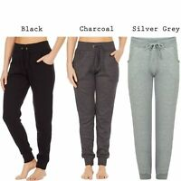 Womens Plain LoungeWear Elasticated Waist Fleece Bottoms Joggers Jogging Trouser